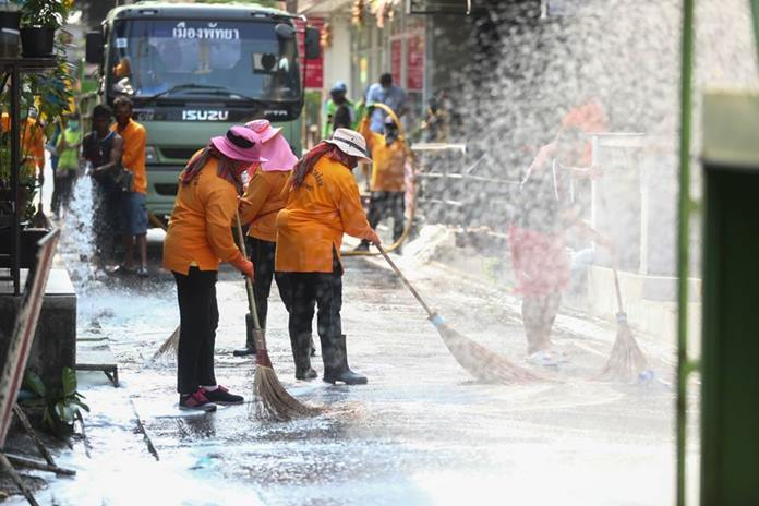 City workers were out in force cleaning the streets like never before.
