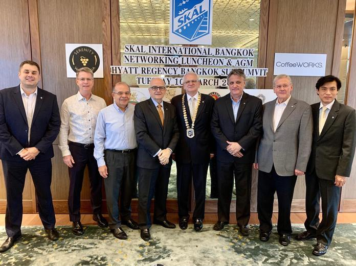 Members of the Skål International Bangkok executive committee 2020-22 pictured L-R: James Thurlby (Marketing), Peter Baines (Auditor), Andres Rubio (Treasurer), Tom Sorensen (Vice President & Membership), President Andrew J Wood, Marvin Bemand (Public Relations), Michael Bamberg (Secretary), Pichai Visutriratana (Events) and not pictured Dr Scott Smith (YS Director) and Eric Hallin (Director & Advisor to the board).