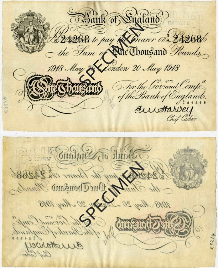 For years the Bank of England had only printed one-sided banknotes. The last one-sided note was issued in 1957 and ceased to be legal tender in 1961. As the Thai notes were to be printed in England it was suggested to the Royal Thai Treasury department to have the First Series printed on one side only. (Copyright Bank of England)
