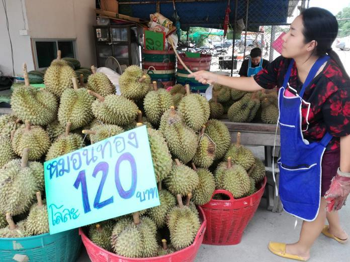 The first of this year's durian crop were sold on Soi Khopai at 120 baht each, with people eagerly snapping up the smelly fruit.