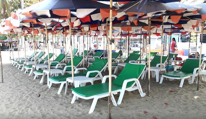 Beach Chairs are placed at a safe distance from each other as ordered by the authorities.