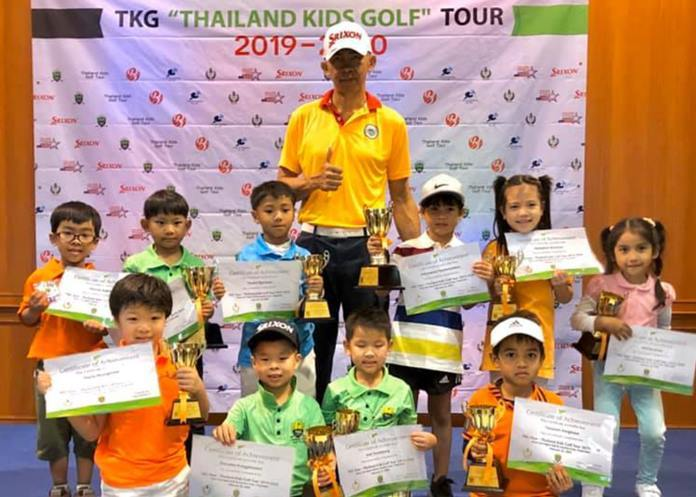 Thailand's future golf champs pose with their trophies at the end of the TKG Thailand Kids Golf Tour 2019-2920.