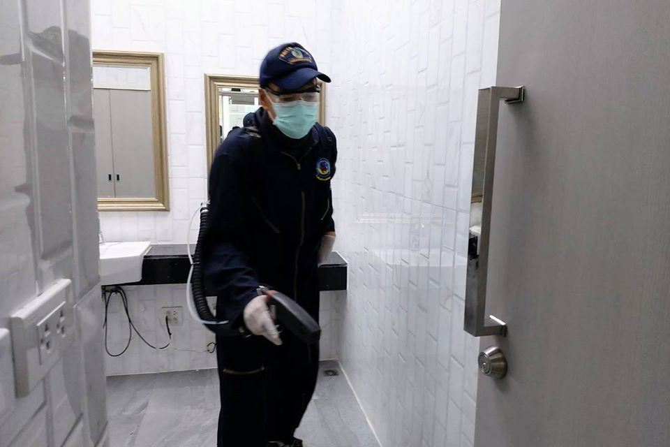 Every nook and cranny of the public toilets are sprayed with disinfectant.