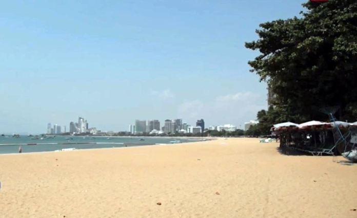 No tourists are seen at Pattaya beach even during day light.