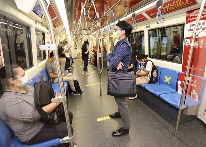Bangkok's Mass Rapid Transit blue line set a distancing for passengers.