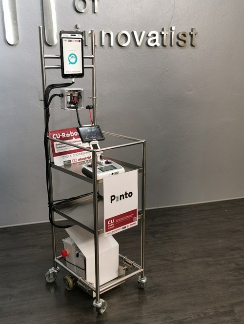 'Pinto' robots - a prototype delivery appliance altered from food carts and remotely workable.