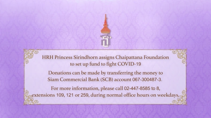 Fund donation bank account and telephone numbers to inquire further information.