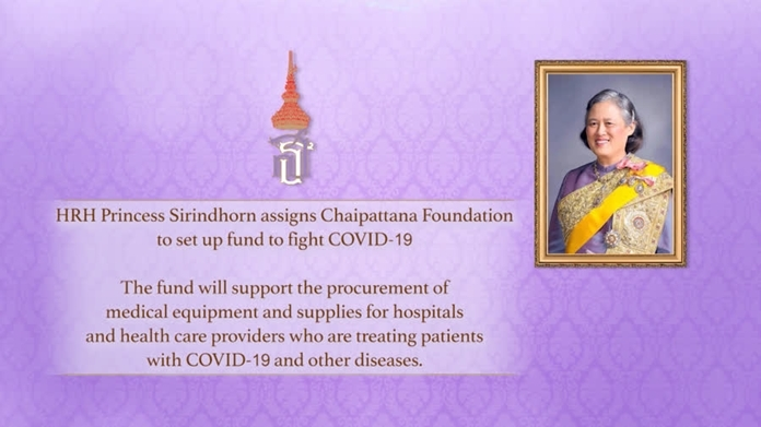 The Chaipattana Foundation sets up fund to support the procurement of medical equipment and supplies for hospitals and health care providers who are treating patients with Coronavirus (COVID-19) and other diseases.
