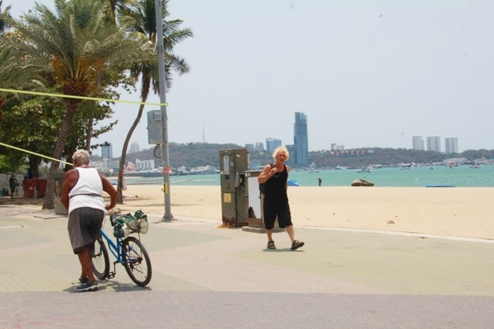 A quiet and remote beach and public space of Pattaya City that was once a hub of all kinds of activities is left with a simple track for a beach stroller and a bike.