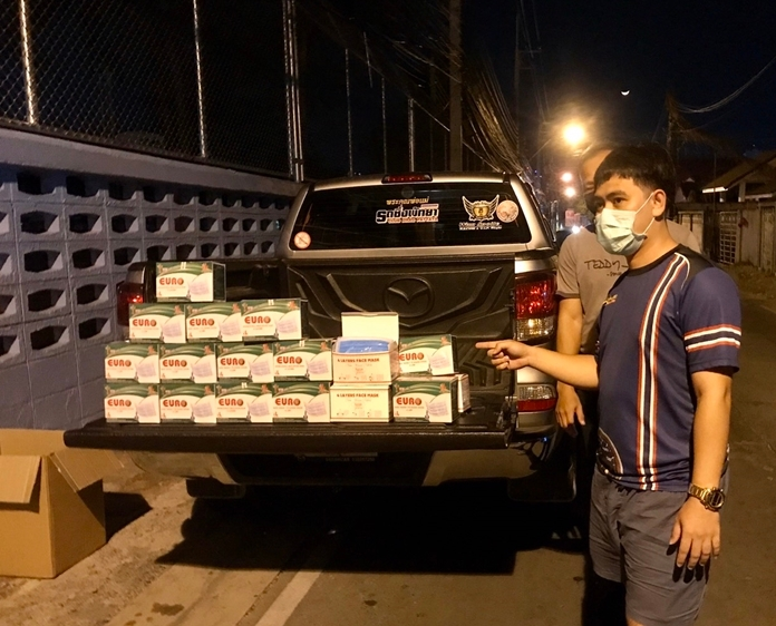 When police caught up with Sanchai Srinaprom, his truck was searched and officers found many more boxes of masks.
