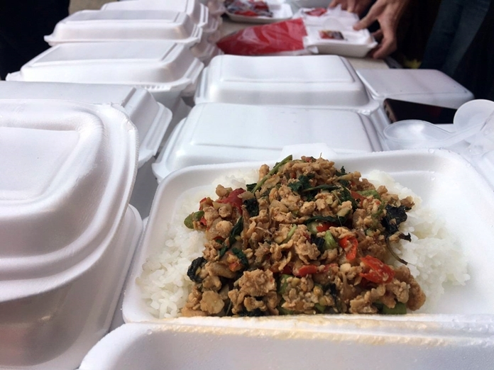 500 boxes of stir-friend chicken with basil and rice meals were given away.