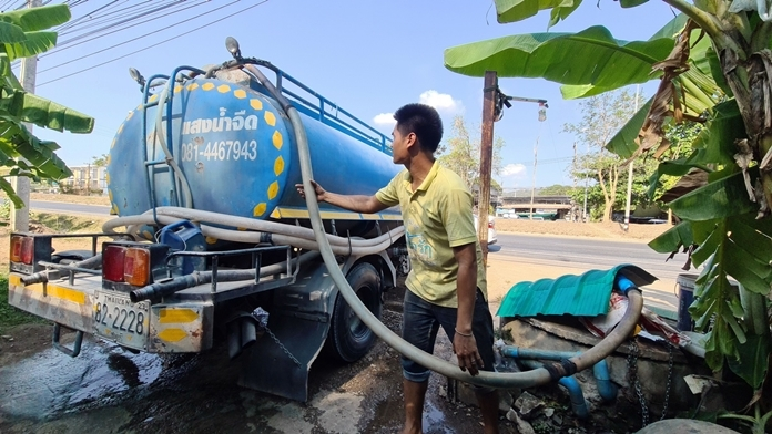Water vendors are drowning in business as drought and water shortages splatter across Sattahip.