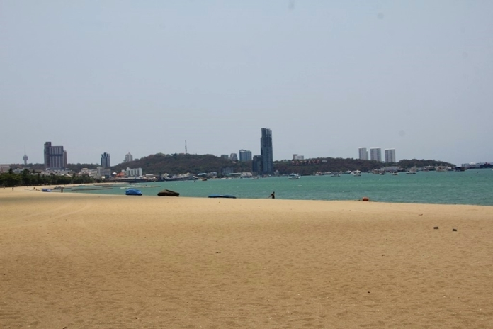Pattaya beach after many years of refilling sand is now deserted.