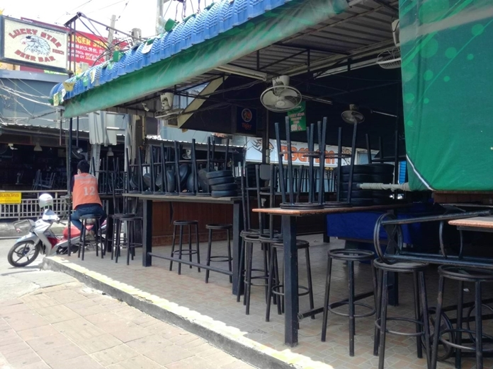 A beer bar opposite Pattaya Beach is seen shut down after the curfew had been in place a couple of weeks ago putting thousands of workers out of jobs.