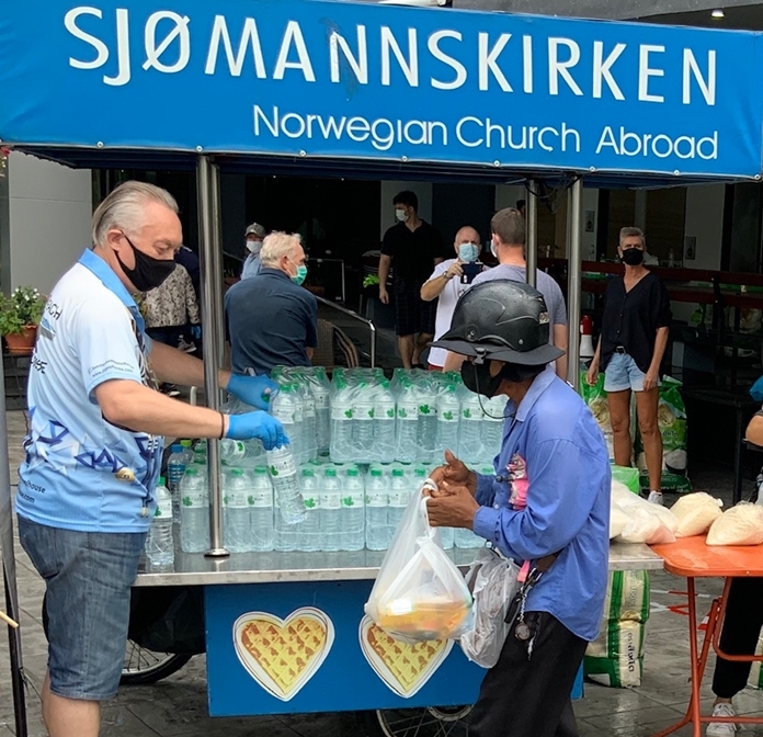 A bottle of water was also an essential item for distribution.