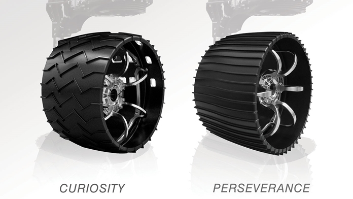 Illustrated here, the aluminum wheels of NASA's Curiosity (left) and Perseverance rovers. Slightly larger in diameter and narrower, 20.7 inches (52.6 centimeters) versus 20 inches (50.8 centimeters), Perseverance's wheels have twice as many treads, and are gently curved instead of chevron-patterned. (Credits: NASA/JPL-Caltech)