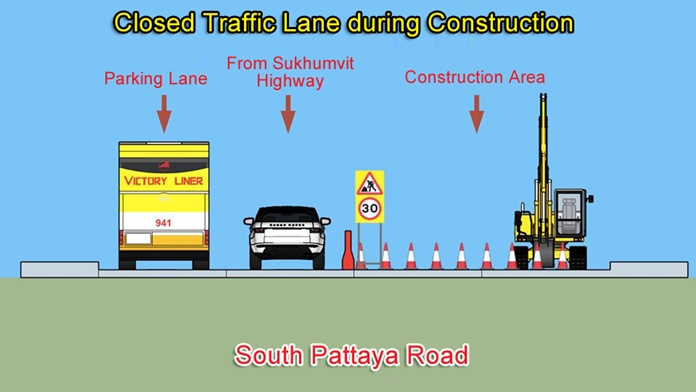 One lane of South Pattaya road will be closed during construction.