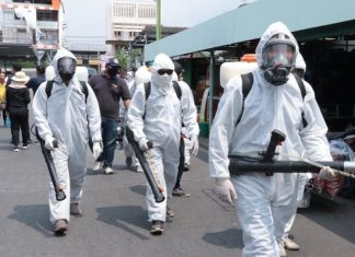 No, this isn't a scene from a low budget horror movie - over the past three weeks teams of workers were sent out to disinfect the city.