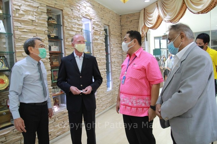 Ronakit Ekasingh, Gerrit Niehaus, Mayor Sonthaya Khunplome and Peter Malhotra. The mayor gave assurances that he will push for more easing of restrictions to Pattaya businesses.