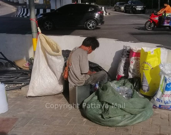With Pattaya beaches closed until next month, the city's homeless have moved under the Bali Hai flyover.