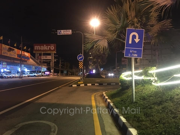 The U-Turn on Sukhumvit Road in front of Makro, South Pattaya, where the city put heavier concrete blockades, but apparently that didn't work, either.