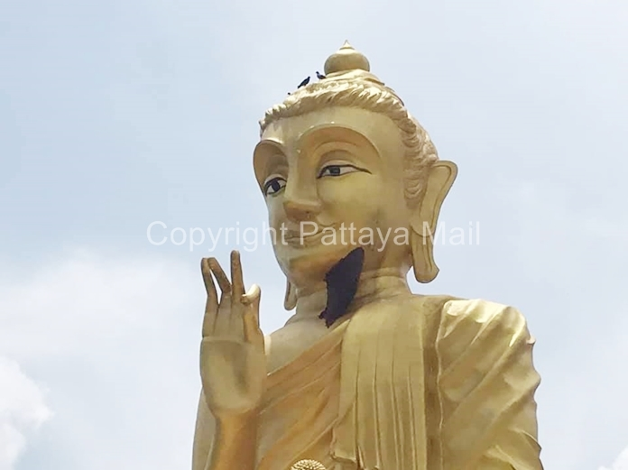 A bee hive nestled under the chin of the 10-meter-tall Buddha at Pah Thepsatta Temple exploded with anger during an anniversary celebration for the Luang Phor Yai Buddha figure.