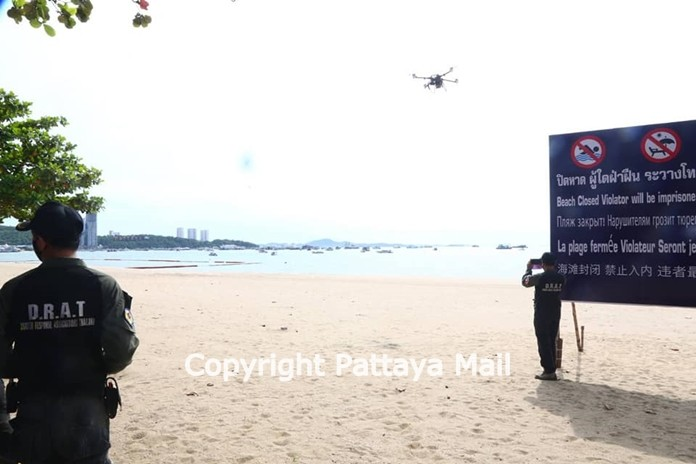 Officials continue to use a drone to keep an eye on Pattaya Beach.