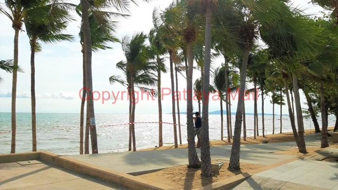 One of the very few remaining tourists enjoys the beauty of the Jomtien beach sunset, standing on this side of the yellow ribbon forbidding anyone to go onto the beach or even dare to swim in the sea.