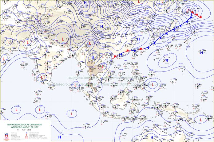 The southerly and the southeasterly wind prevails over the upper region of Thailand.