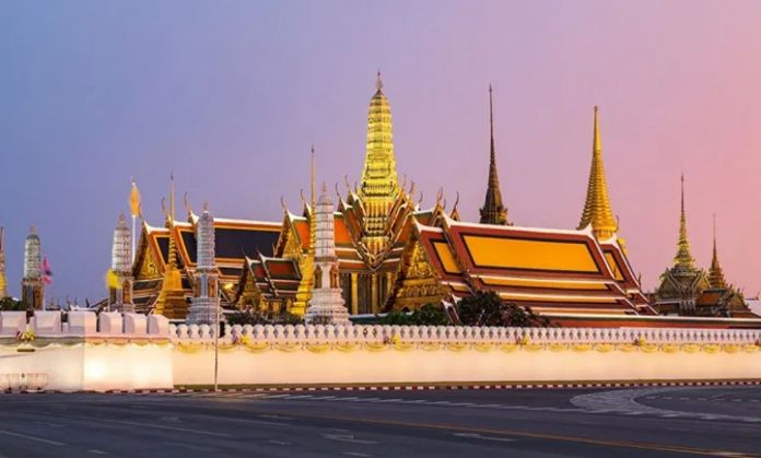 The Grand Palace and Wat PhraKaeo (Temple of the Emerald Buddha) in Bangkok.