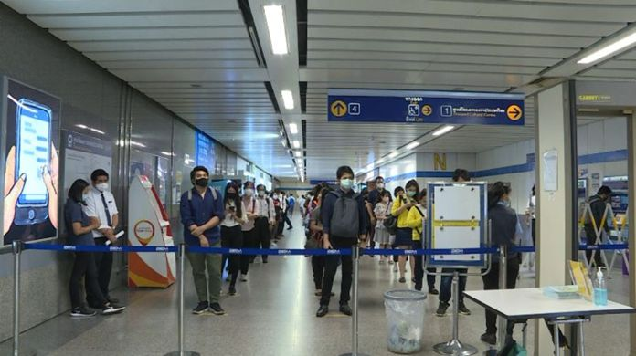 Eased lockdown, reduction of the night-time curfew, and the reopening of shopping malls cause higher numbers of commuters on all Bangkok's public transportations.