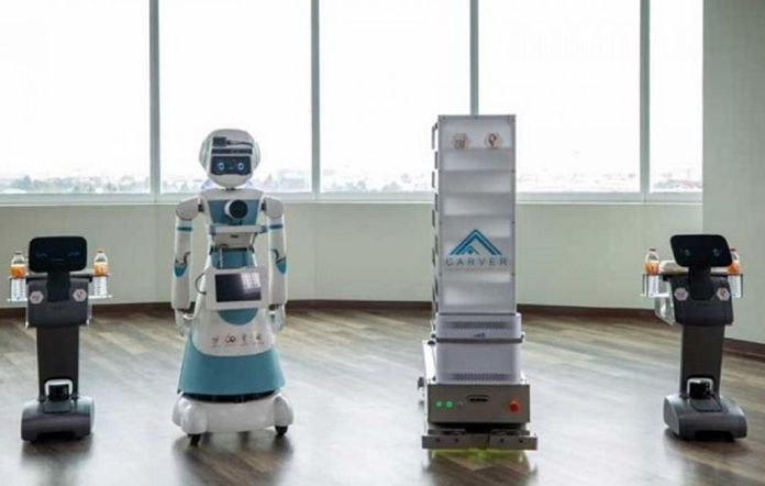 Four sets of robots are produced to help personnel at four eastern hospitals safely treat patients of the coronavirus disease 2019 (COVID-19).