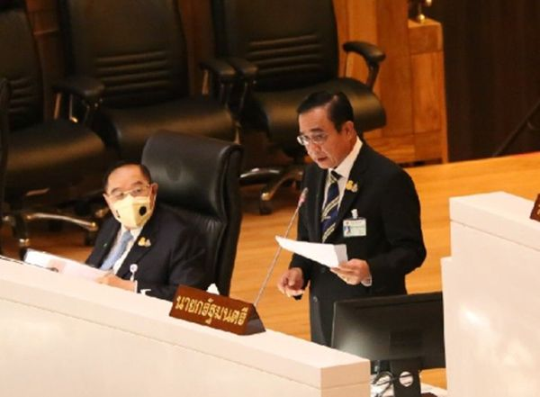 Prime Minister Prayut Chan-o-cha clarified to the parliament on safe agriculture policy, tobacco taxation, water management, caring of public healthcare workers, and the issue of hygienic mask.