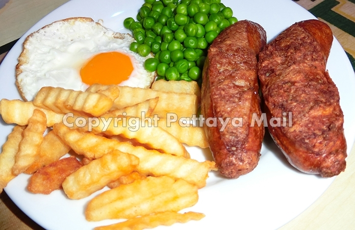 The fare is not expensive and in generous portions, with items such as two large Cumberland sausages, French fries, garden peas and fried eggs.