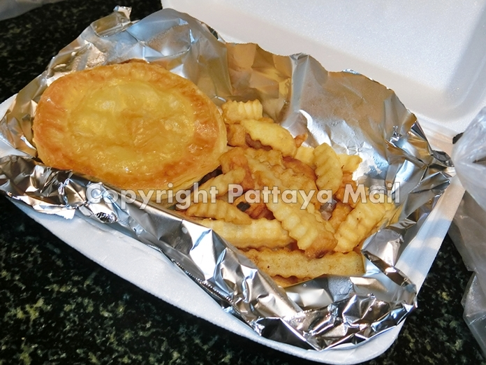 Pies with the usual favorites such as chicken or minced beef and onion are on offer.