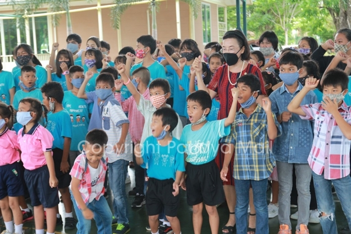 "Children shouted U Ban Tu meaning ""sharing to cultivate children to be grateful."""