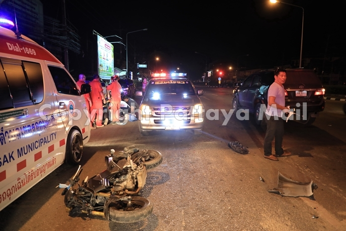 School janitor Yeang Somsub suffered a concussion and broken arm and leg in a two vehicle accident on Sukhumvit Road.