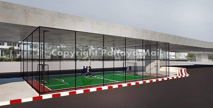 An artist's drawing of the proposed sports park under the Bali Hai flyover.