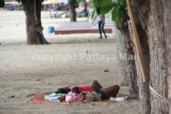"""Pattaya's homeless have returned to city beaches now that they've been """"unlocked""""."""