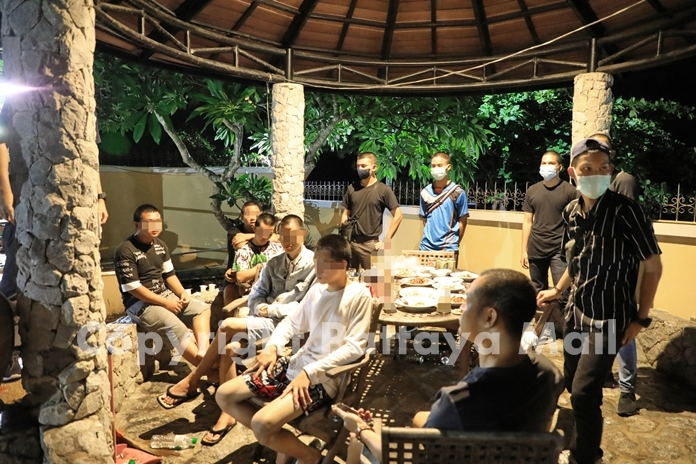 Six monks were among 21 teenagers and adults caught partying June 7 at a pool villa in Bang Saray, which violated the emergency decree forbidding large gatherings.