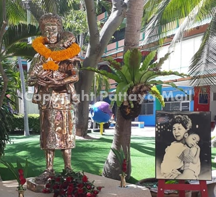 A statue of Aurora Lee Sribuapun stands in the grounds of the Pattaya School for the Blind to commemorate the first anniversary of her death.