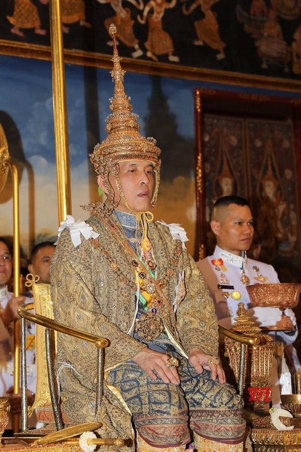 King Maha Vajiralongkorn Bodindradebayavarangkun sits on the throne as he is officially crowned King at the Grand Palace, in Bangkok, May 4, 2019.