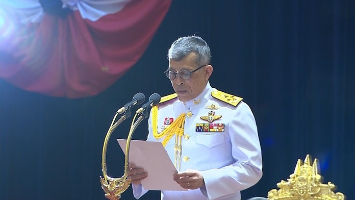 His Majesty the King addresses parliament in Bangkok, Friday, May 24, 2019, advising lawmakers to take their responsibilities seriously because their actions will affect national security and the people's well-being.