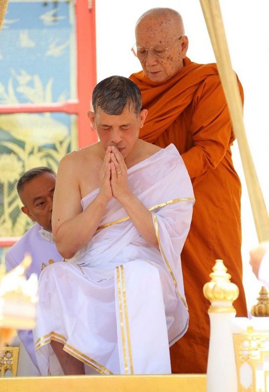 His Majesty King Maha Vajiralongkorn Bodindradebayavarangkun is bathed with sacred water from several holy rivers and ponds and other water sources in the country in a rite known as the Royal Ablution and Anointment ceremonies.