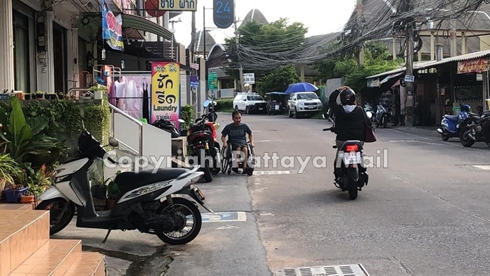 The on again-off again battle between Pattaya's disabled residents and selfish neighbors on Soi Paniadchang flared up again this month with fresh reports of locals parking cars inside the street's dedicated wheelchair lane.