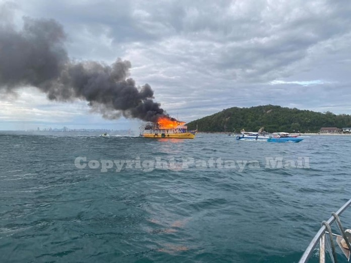 Spectacular flames consumed the entire top of the boat.