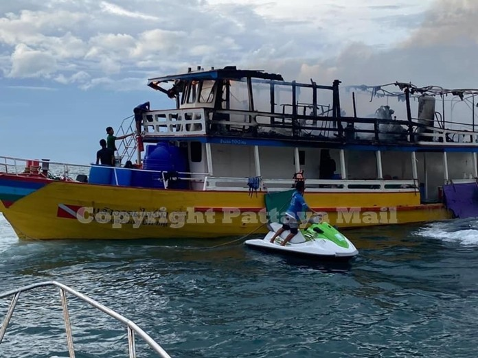 A Pattaya boat captain who forgot he had dinner on the stove saw the top desk of his vessel destroyed by fire.