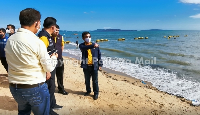Sompong Jirasirilert, deputy director for operations, inspect Jomtien Beach where work will begin in August.