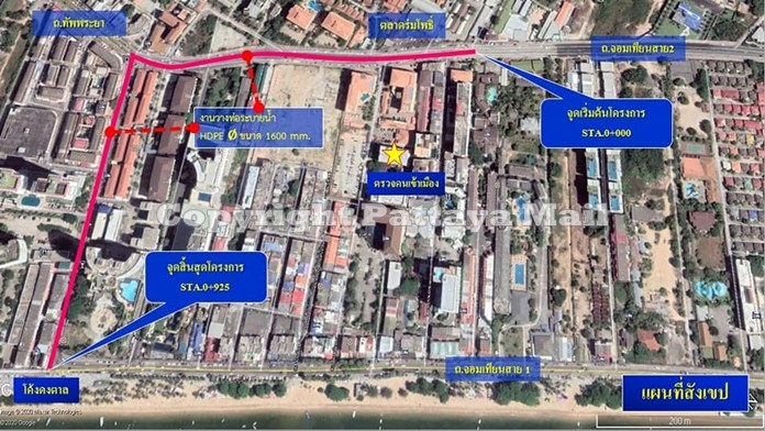 Maps showing where drain pipes will be buried along Jomtien 2nd Road.