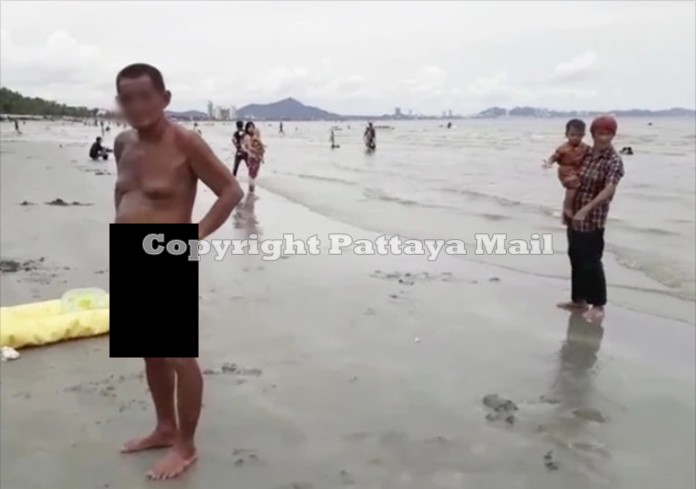 """Bangsaen police have their hands full these days with """"Samran"""" who continues to strip naked for a swim at the beach"""